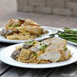 chicken, pasta and mushrooms on white plate