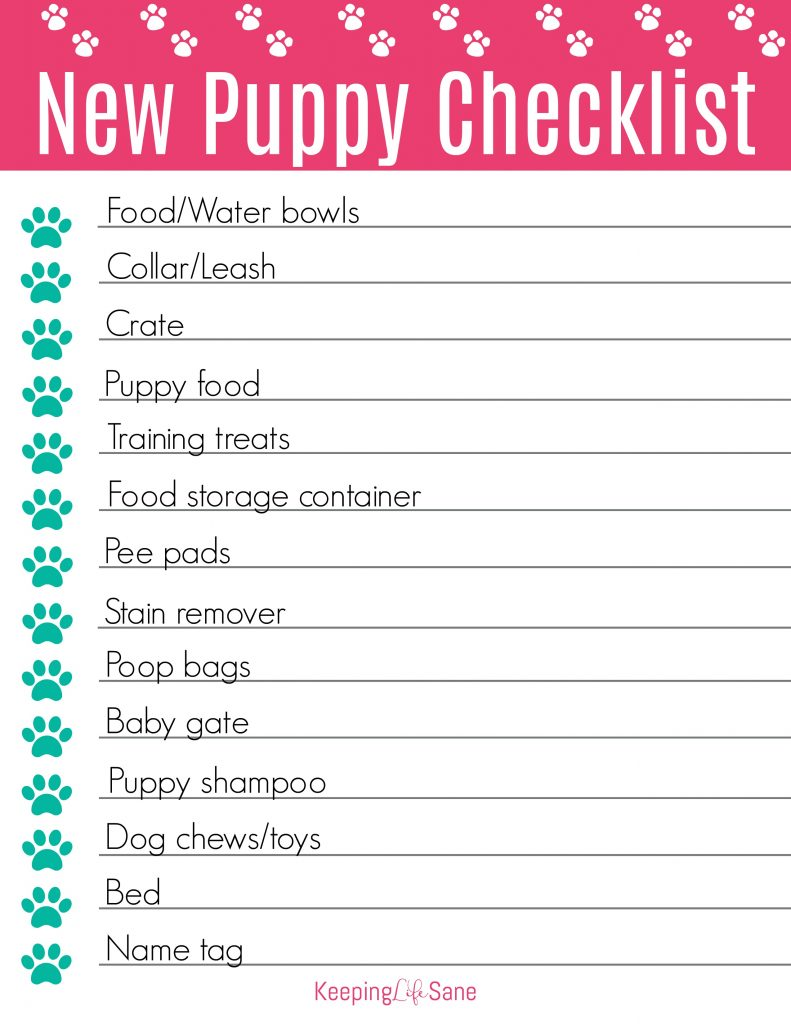 preview of puppy checklist to print out