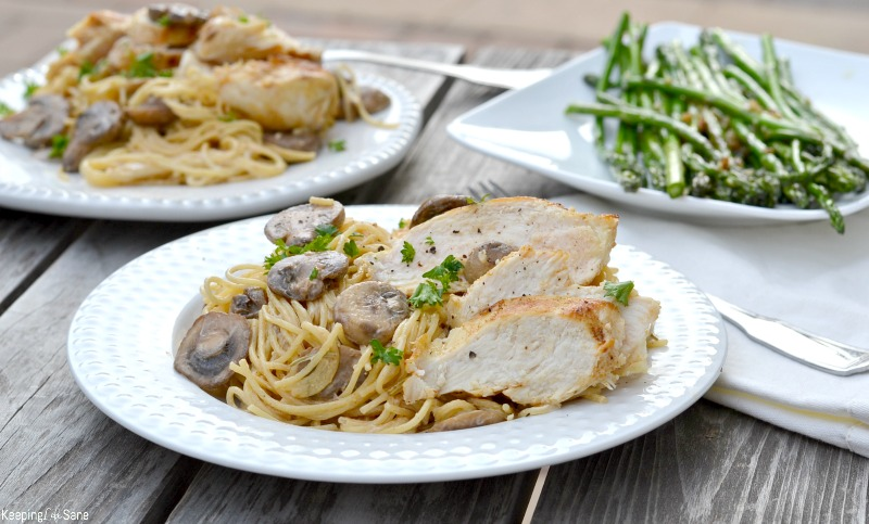 Put the kids to bed early and make this delicious chicken and mushroom pasta. It's an easy recipe that taste great, perfect for date night.