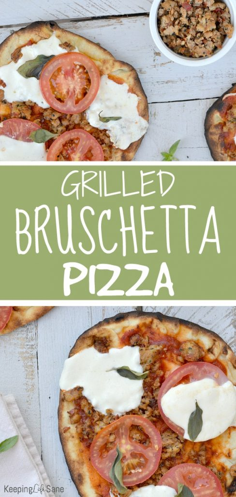 Grab this recipe for grilled bruschetta flatbread pizza for a quick and convenient weeknight meal. Your kids are gonna love this! #recipe #dinner #meal #weeknightmeal #pizza #kidapproved #bruschetta #flatbread