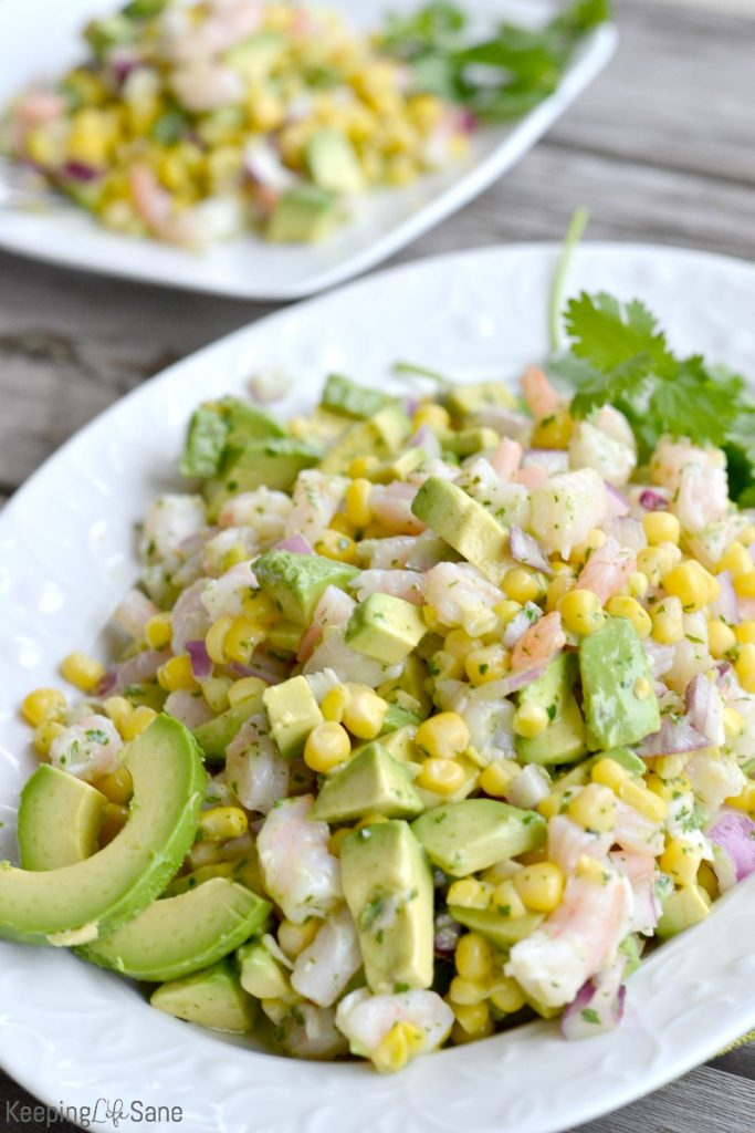 Try my husbands FAVORITE shrimp salad! This simple shrimp avocado salad is perfect as a side for dinner or put in a pita for a delicious lunch.