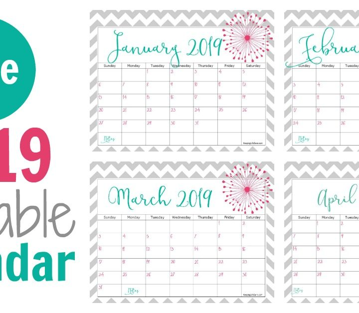 Don't you love looking at the month in a glance? Grab this free 2019 printable calendar. It's such a pretty style and will help you get organized.