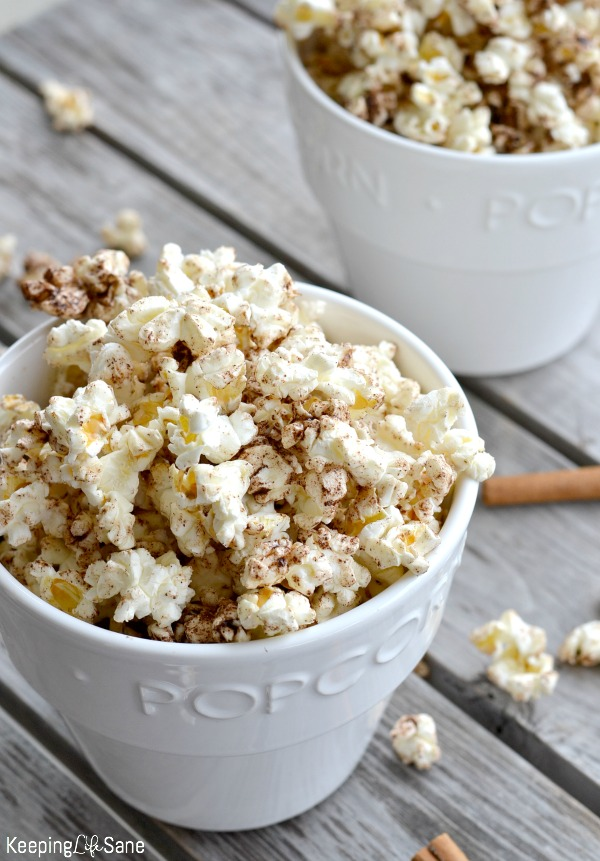 Don't just have plain old popcorn. This EASY cinnamon honey popcorn is great for an afternoon snack or perfect for movie night.