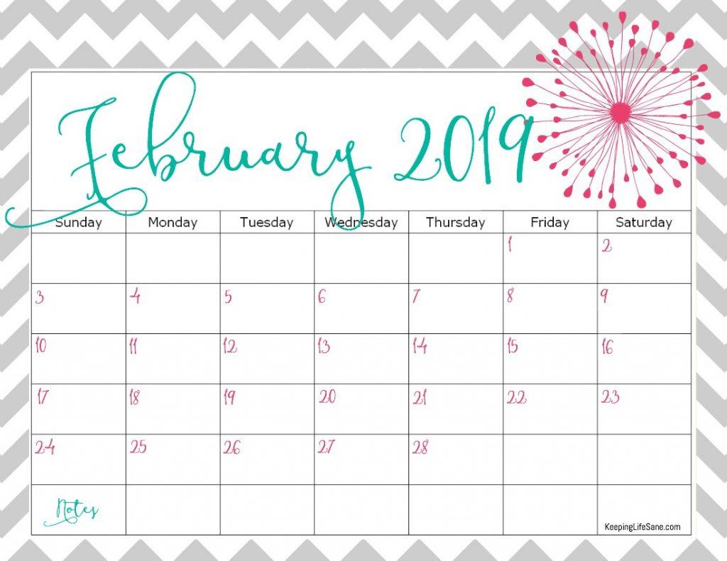Free 2019 Printable Calendar - Keeping Life Sane