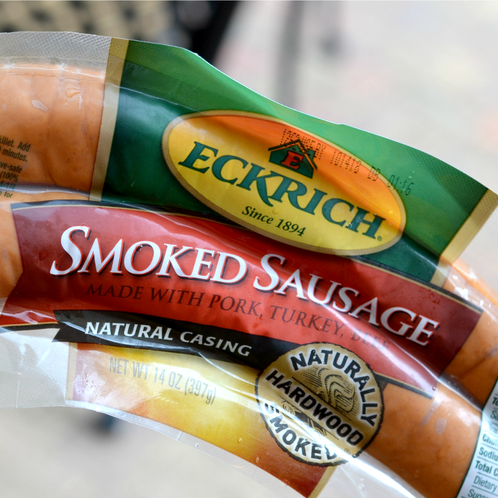 closeup of Eckrich Smoke Sausage in package