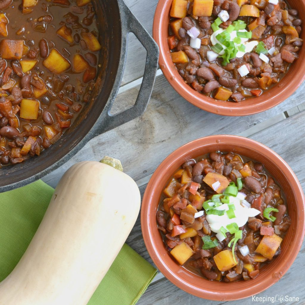 It's fall, so it's time for chili. This is butternut squash chili recipe is perfect for those cool nights to warm you up.