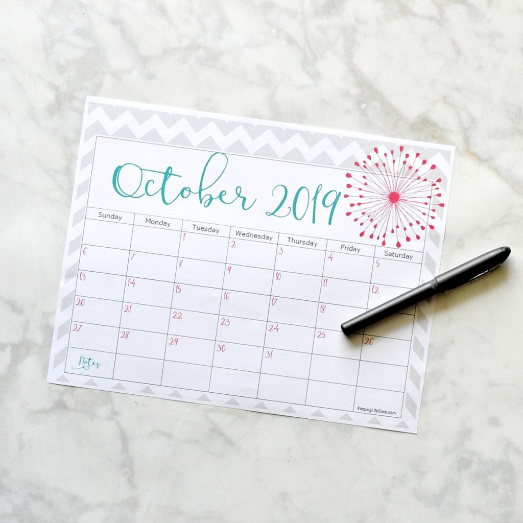 Free 2019 Printable Calendar - Keeping Life Sane