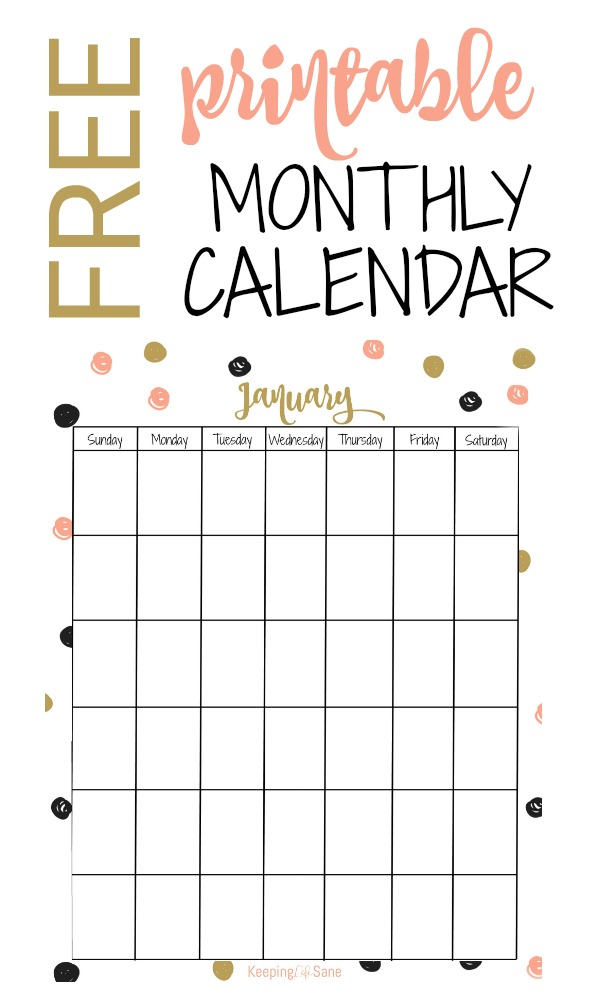 Free Vertical Printable Monthly Calendar Keeping Life Sane
