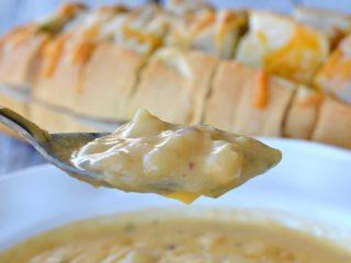 close up of potato cheese soup