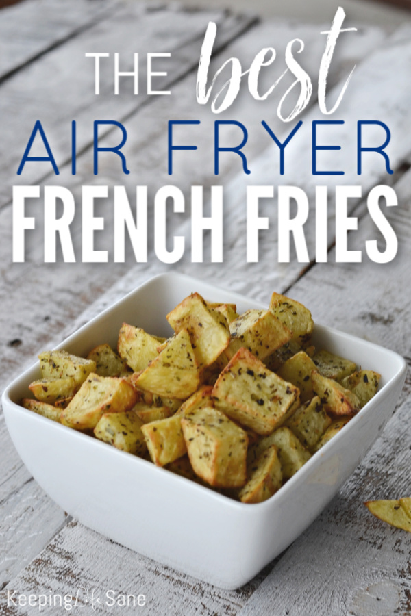 Air fryers are the best and this is the BEST homemade air fryer French fries on the Internet. You are going to love this three ingredient side dish. #AirFryer #AirFryerRecipe #AirFryerSide #AirFryerDinner #Dinner #Side #SideDish #Potatoes #FrenchFries #HomemadeFrenchFries