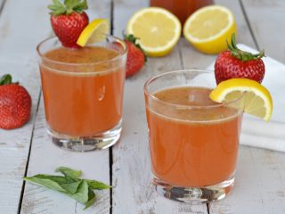This strawberry lemonade mimosa with basil is the best cocktail with Mother's Day coming up. It's the perfect drink for spring and summer.