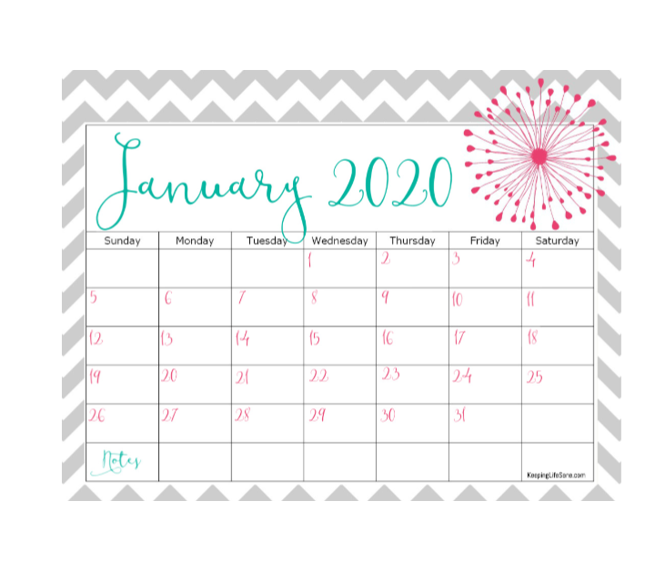 Don't you love looking at the month at a glance? Grab this free 2020 printable calendar. It's such a pretty style and will help you get organized.