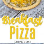breakfast pizzas on grey wooden planks
