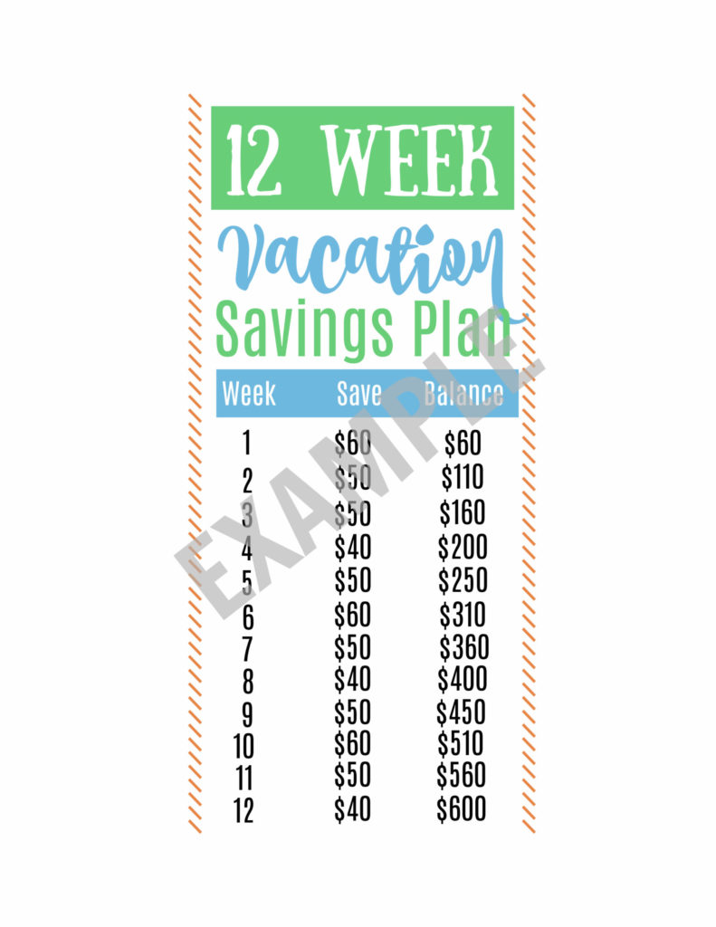 Easy Vacation Savings Challenge- 12 weeks that's realistic with a cute printable!