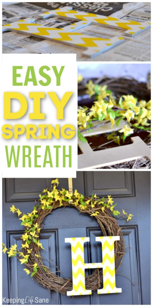 Here's an easy DIY spring wreath with initial for people who aren't crafty! It only takes a few steps to have a great looking door and it's inexpensive.