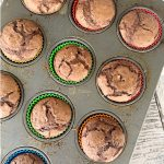 Chocolate cupcakes in muffin tin Square