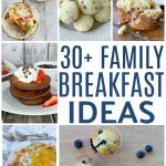 collage of a bunch of breakfast foods, muffins, chocolate pancakes, breakfast fajitas