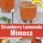 two clear glasses with strawberry lemonade mimosa with lemon on side of glass with basil leaf