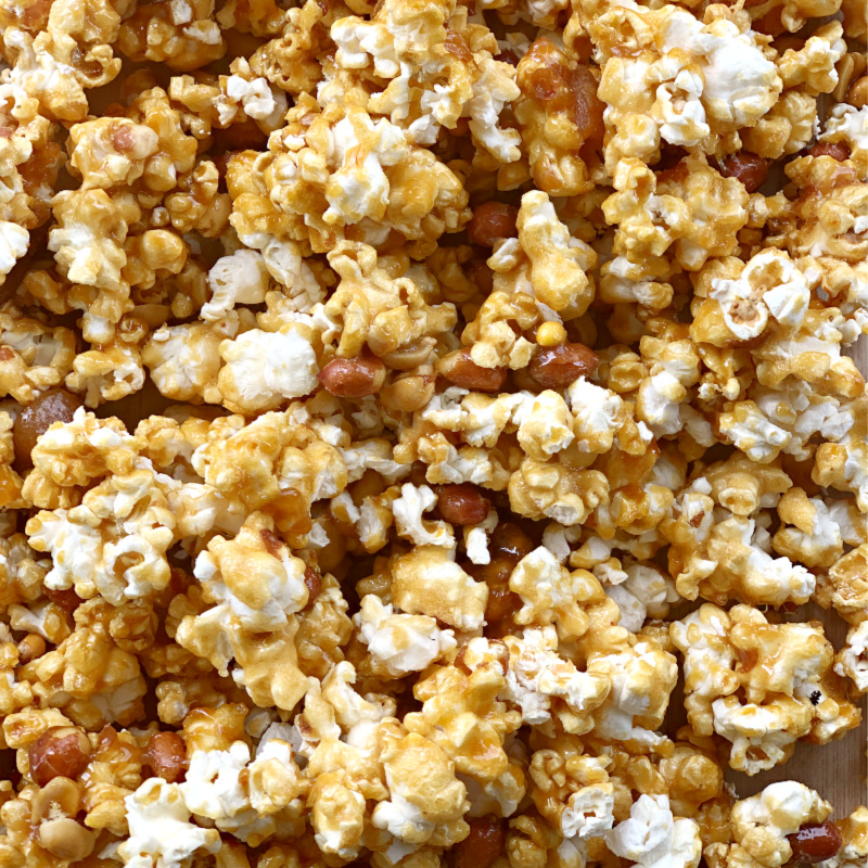 Close up of peanut caramel popcorn