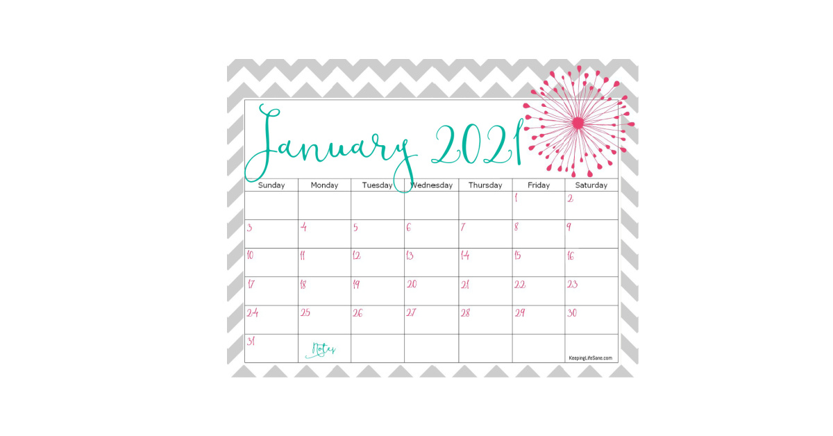 Cute 2021 Printable Blank Calendars / Elegant 2021 ...