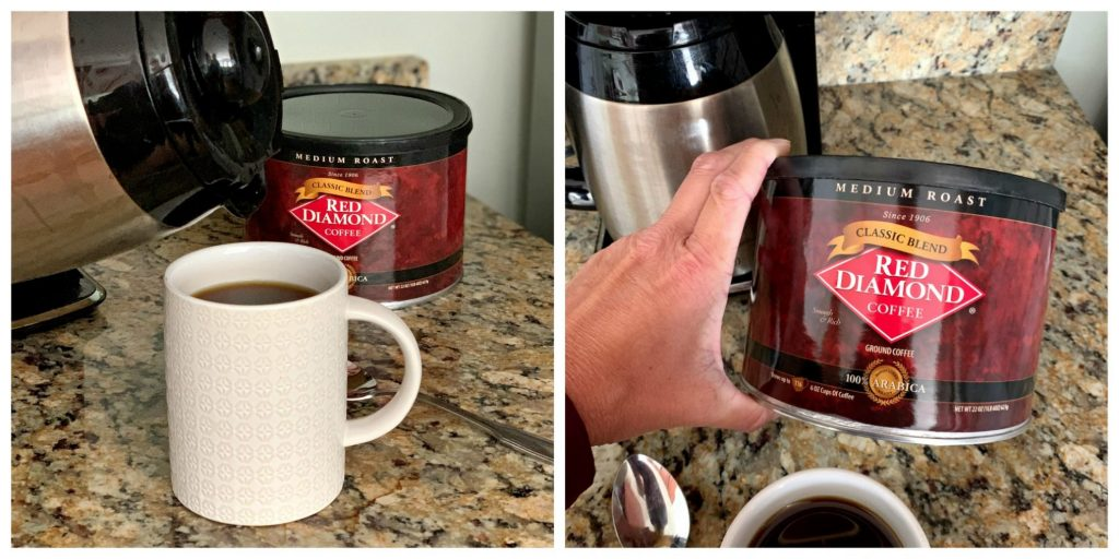 cup of coffee in white mug with Red Diamond coffee can in background, closeup of red diamond coffee can
