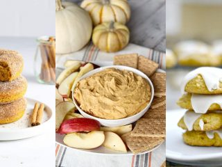 pumpkin donuts stacked up, bowl of pumpkin pie dip with apples, stack of iced pumpkin cookies