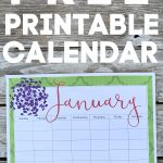 print out of cute calendar on wooden table