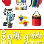 several lego gifts, including a lego robot, tape, storage bag, mug and book