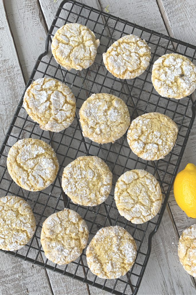 baking rack with 12 lemon cookies with overhead view