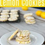 white plate with 4 lemon cookies and one propped up on the side