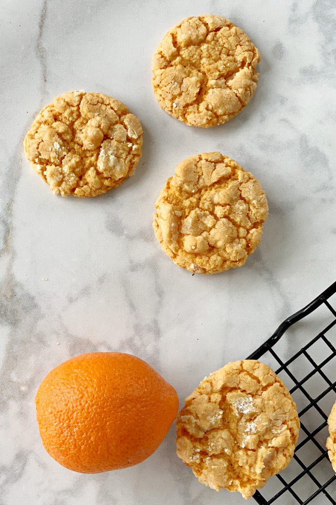 overhead view of cookies on countertop