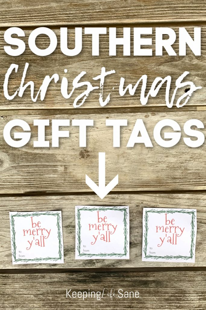 three southern gift tags in a row