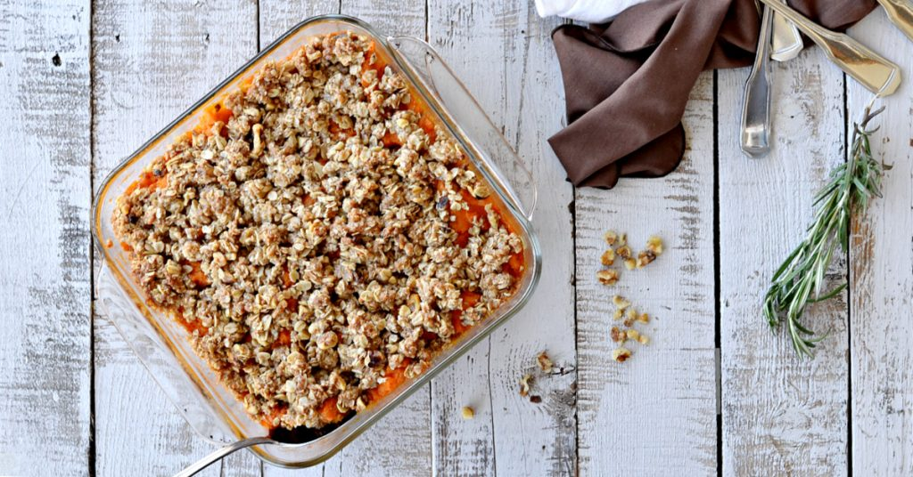 overhead view of square dish with sweet potato casserole