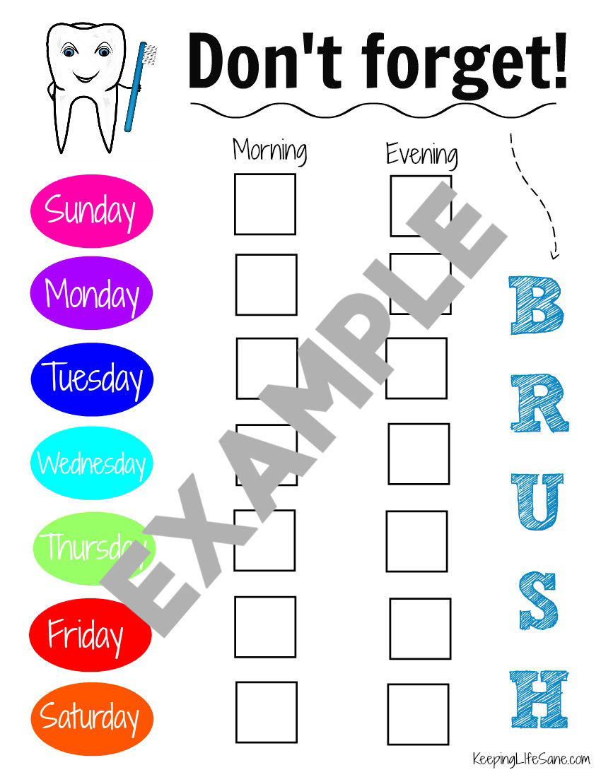 Tooth Brushing Chart For Kids You Can Print Out Keeping Life Sane