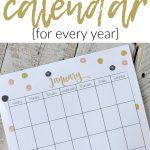 printed out calendar on wooden table