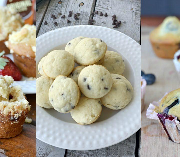 strawberry muffin, pile of pancake muffins, blueberry muffin