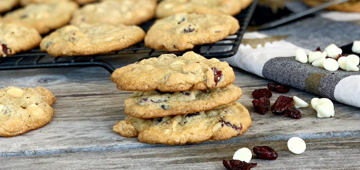Stack of white chocolate ranberry cookies