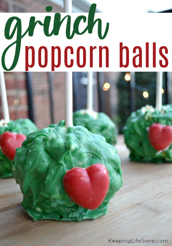 green popcorn balls with red heart