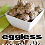 White square bowl pile high with meatballs