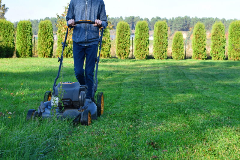 boy mowing big grassy field with trees lines up at the back of the yard