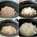 4 process shots of adding food to slow cooker for hamburger hash