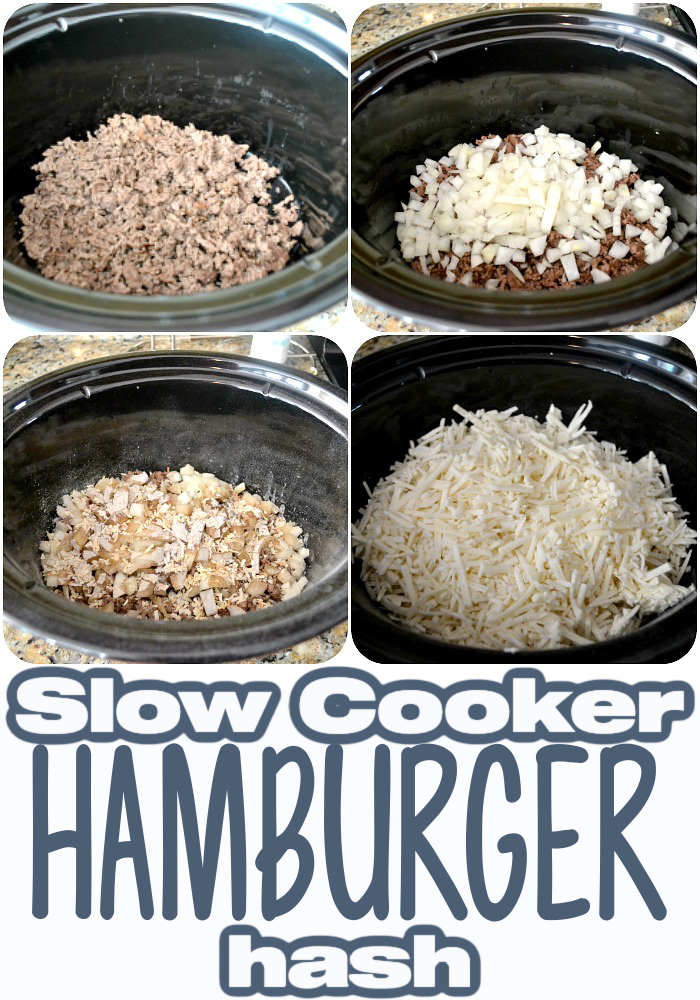 process photos of hamburger has in slow cooker