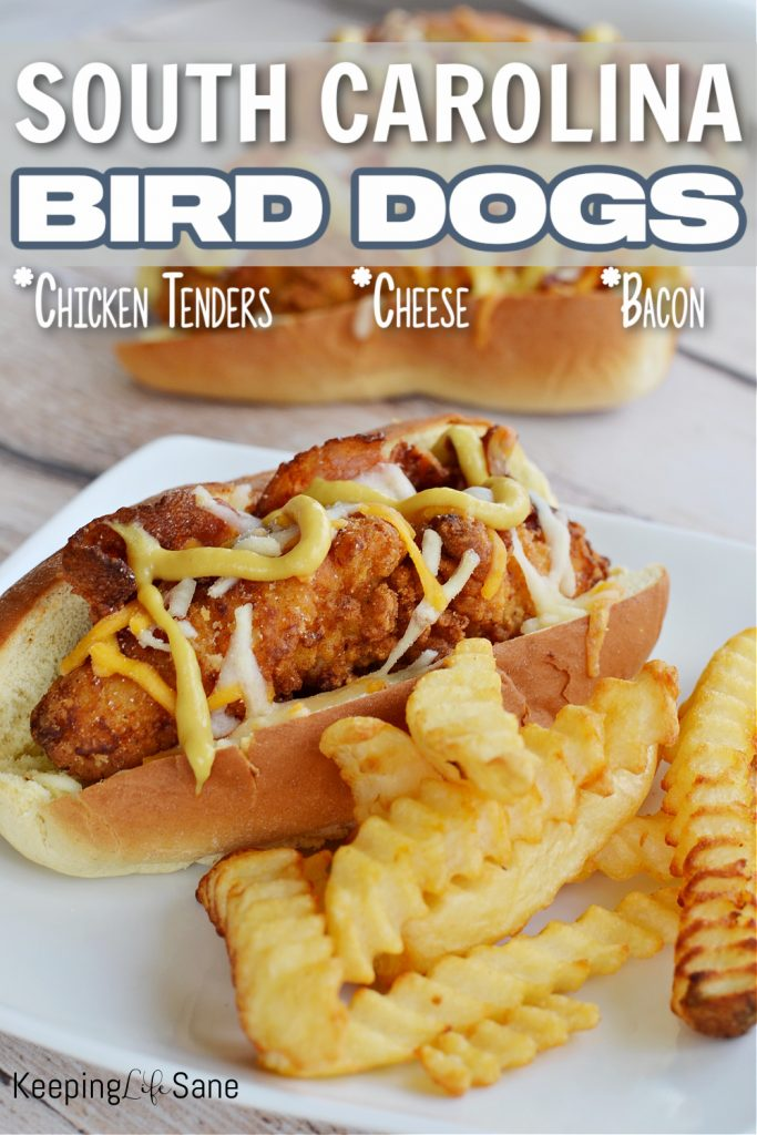 SC bird dog with french fries on a white plate