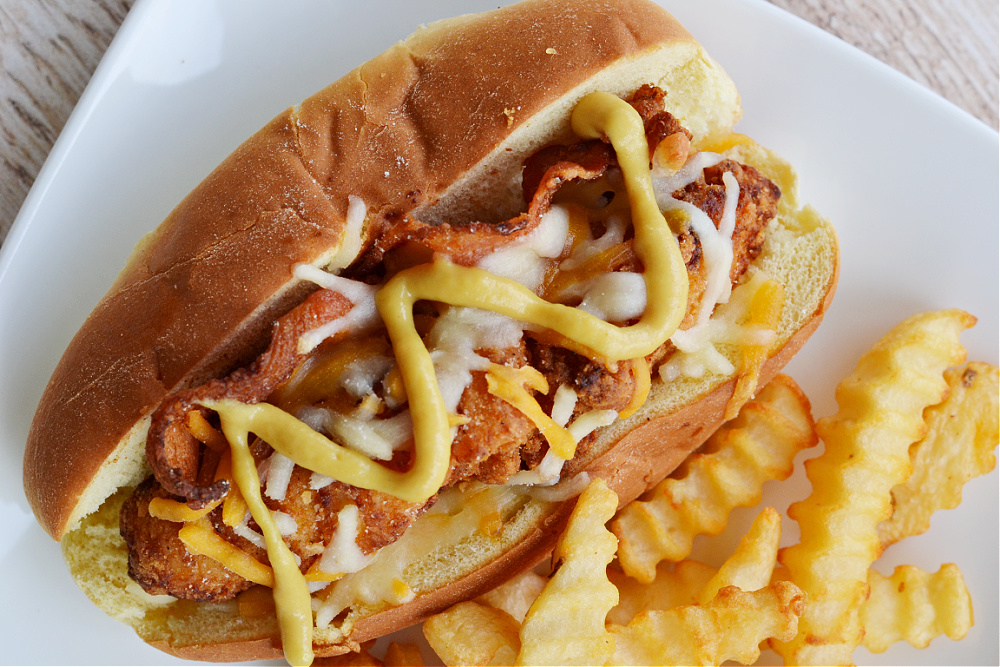 closeup overhead view of SC bird dog with french fries on a white plate