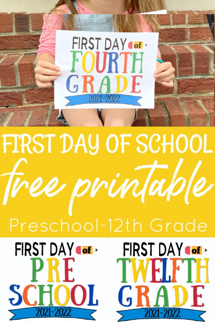 girl sitting on brick steps holding first day of school printable sign
