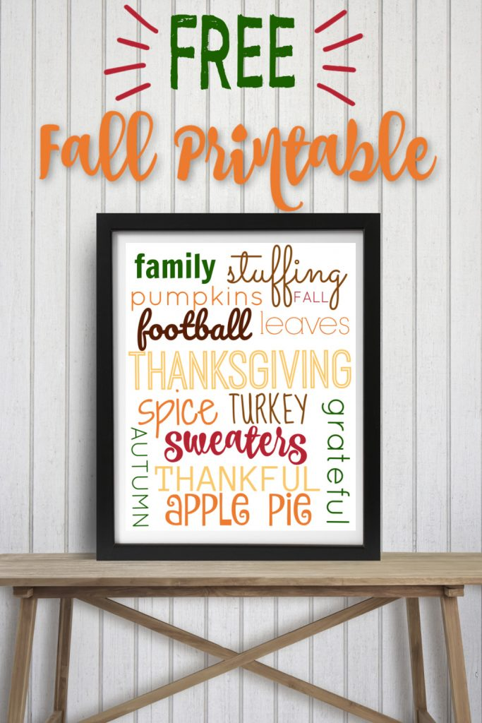 Frame sitting on table with printable fall decoration